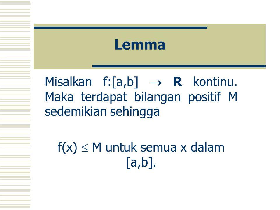 f(x)  M untuk semua x dalam [a,b].